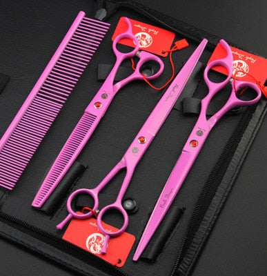 Purple Dragon 8.0 Inch Professional Dog Grooming Scissors Straight & Curved & Thinning Shears Sharp Edge Animals Hair Cutting