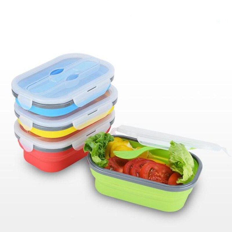 800ml Creative Foldable Lunch Box Silicone Collapsible Portable Lunch Box Large Capacity Bowl Lunch Bento Box Folding Lunchbox