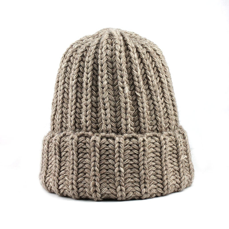 [FLB] Knitting wool ball skullies beanies Casual streetwear Thick warm hat cap Women autumn winter 2020 cute beanie hat 17042