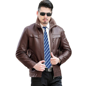 Men Smart Casual Leather Jackets Plus Velvet Thicken Coats Fashion Warm Winter Male Stand Collar Plus Size Parkas YP1189