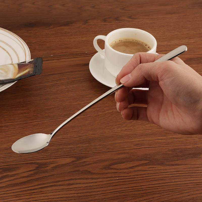 High Quality 410 Stainless Steel Thicken Handle 24cm Long Spoon Ice Spoon Mirror Polishing for Dessert Coffee Stirring