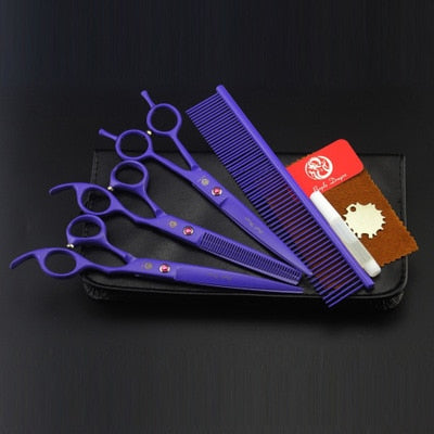 Purple Dragon 7.0 Inch Professional Pet Scissors For Dog Grooming High Quality Straight & Thinning & Curved Shear 4pcs/Set