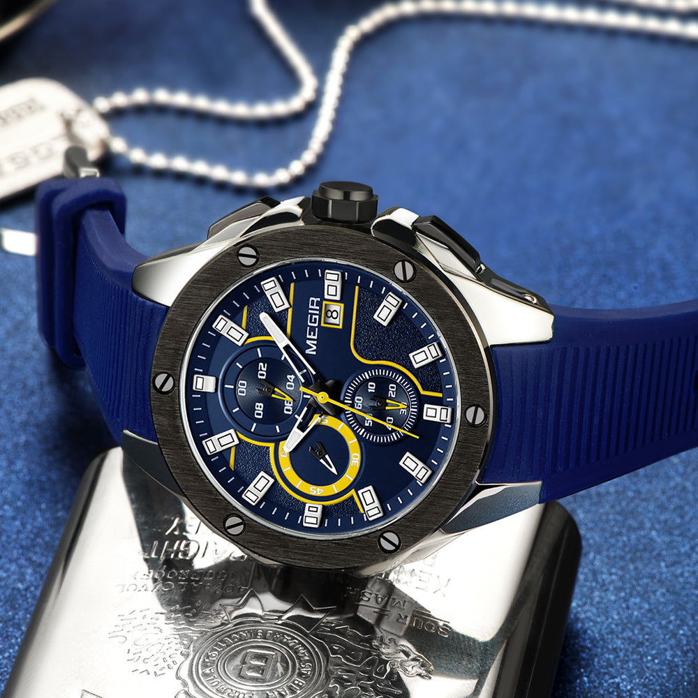 MEGIR Men's Sports Chronograph Quartz Watches Silicone Strap Luminous Waterproof Army Military Wristwatch Man Relogios 2053 Blue