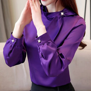 Women Blouse Shirts Office Lady Slim Blouse 2019 Spring Bow Shirts For Women Fashion Women Casual Silk Shirts Plus size Tops Hot