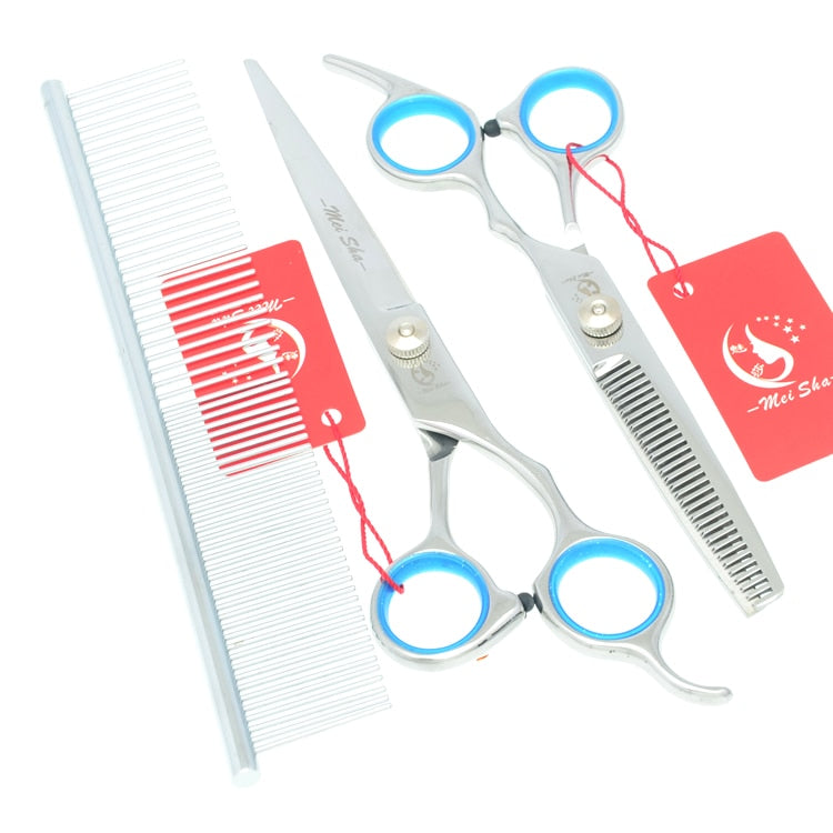 "7.0"" Professional Pet Scissors for Dog Grooming Stainless Steel Straight Curved Cutting Shears 6.5"" Cat Thinning Clipper HB0061"