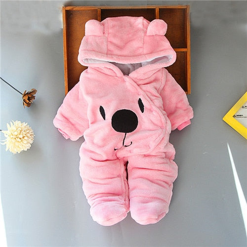 Newborn Baby Winter Hoodie Clothes r Infant Baby Girls Pink Climbing New Winter Outwear Rompers 3m-18m Boy Jumpsuit