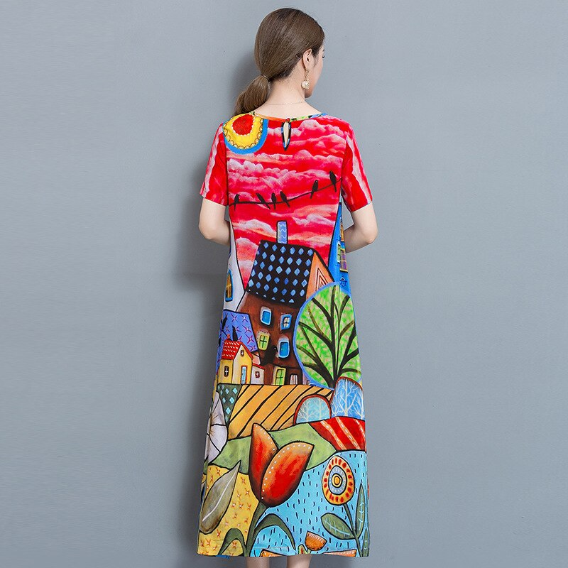 Spring Summer Multicolor Cartoon Printed Chiffon Dress Women Short Sleeves Vestidos Elegant Long Dresses Plus Size Vestidos
