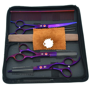 "Purple Dragon 7.0"" Professional Pet Cutting Scissors 6.5"" Thinning Shears Dog Curved Grooming Tesoura Set with Comb Bag LZS0353"