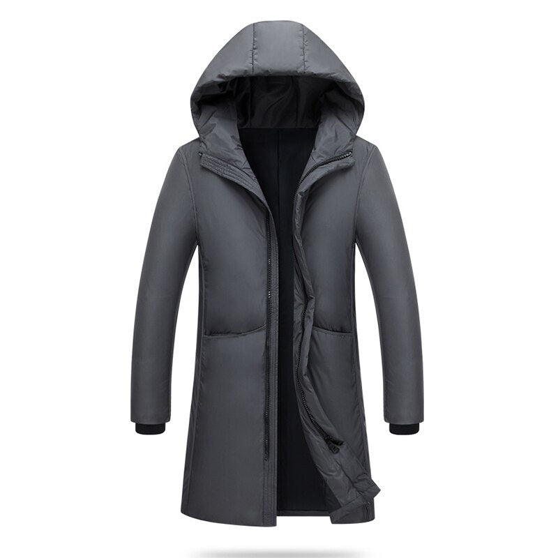 2018 new fashion Jackets Men Warm Hooded Jacket Cotton Thick Casual Solid Zipper Pockets Long Outwears RE0922