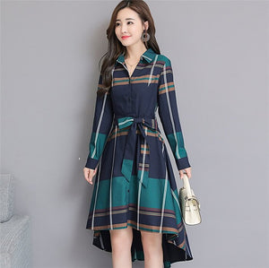 Spring Autumn New Women Irregular Lattice Dress Fashion Temperament Slim Womens Blouse Dress Vestido Plus Size RE2516