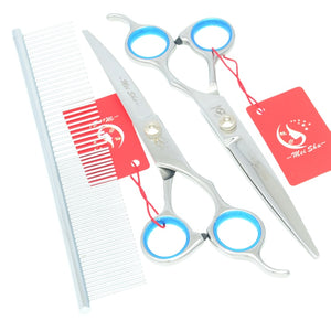 "7.0"" Steel Pet Grooming Scissors Set Straight Curved Dog Cutting Thinning Shears Kit Cat Hair Trimming Clipper with Comb HB0063"