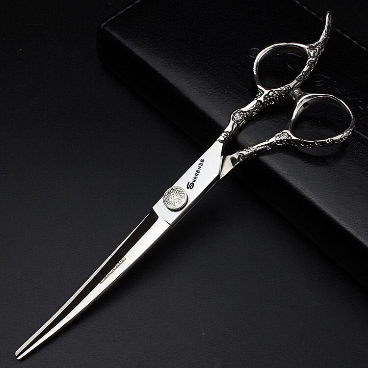 Genuine 7 Inch Professional Japanese Pet Dog Grooming Scissors Japan 440c Sharp Groomer Shears Cutting Thinning Curved Scissors