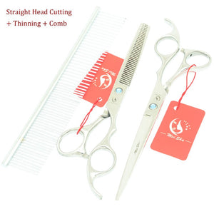 Meisha 7 inch Japan 440c Pet Grooming Scissors Set High Quality Dog Scissors Animal Cutting Thinning Curved Shears HB0081