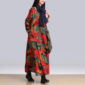 Women Autumn Dress Vestidos Asymmetrical Long Sleeve Print Cotton Linen Loose Dress Robe Female Casual Dresses office Lady R2340