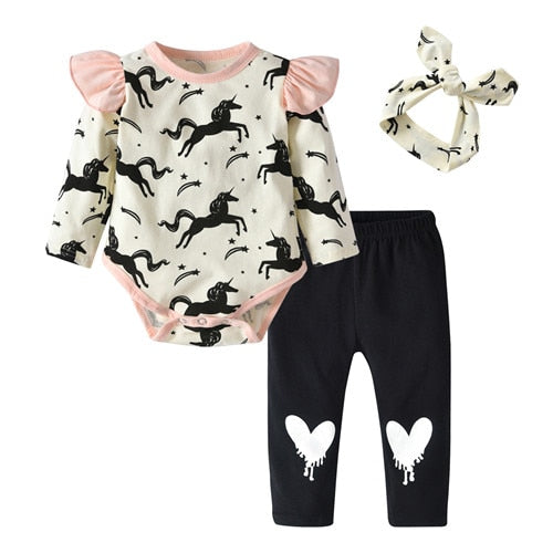 Baby Girls Clothing 3Pcs Unicorn Print Long Sleeve Rompers+Pants+Headband Outfits Set Autumn Newborn Baby Clothes