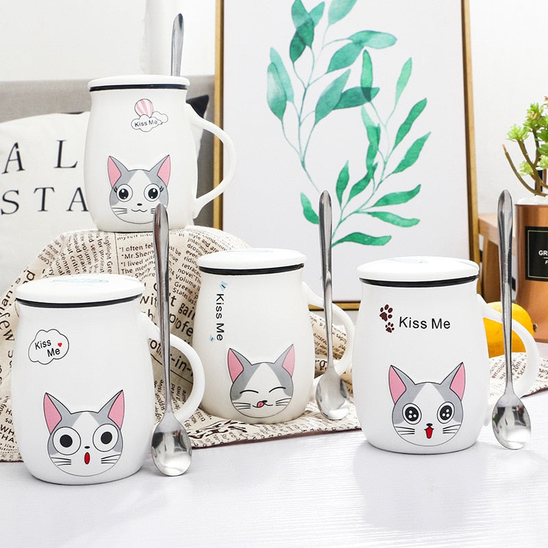 400ml Cute Cat Ceramic Mug With Lid and Spoon Cartoon Coffee Milk Tea Breakfast Cup Novelty Gifts Mugs