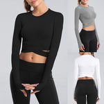 cozyrex,CALOFE Long Sleeve Running Shirts Women Sexy Exposed Navel Yoga T-shirts Quick Dry Fitness Gym Crop Tops Solid Sports Shirts,CozyRex,