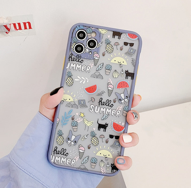 3D Flowers For iPhone 11 Case  For iPhone 11 Pro Max X XS Max XR Cute Transparent Soft TPU Bumper Back Cover Coque
