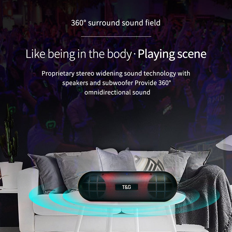 cozyrex,TG LED Bluetooth Outdoor Speaker Metal Portable Super Bass Wireless Loudspeaker 3D Stereo Music Surround With Mic FM TFCard Aux,CozyRex,518
