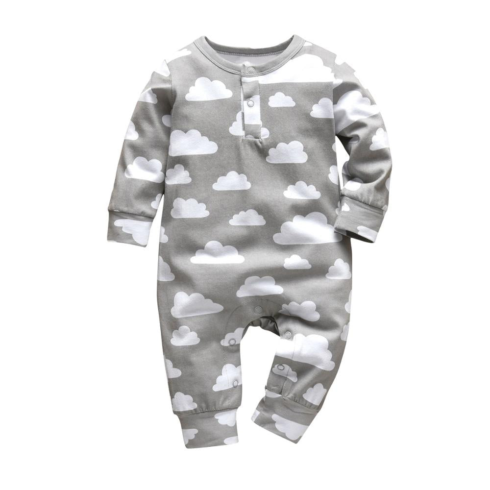 Newborn Baby Boys Girls Romper Infant Clothing Cute Gray Clouds Print Long Sleeve Jumpsuit Pajamas Toddler Clothes Outfits