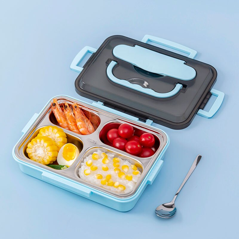 1000ml Fashion Stainless Steel 304 Lunch Box With Handle Leak-Proof Bento Boxes Dinnerware Set Microwave Food Container