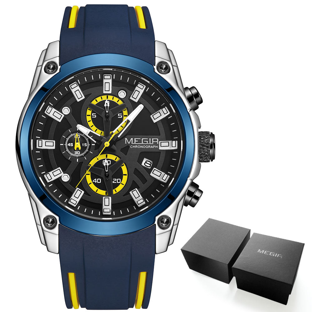 MEGIR Men's Military Sport Watches Men Waterproof Fashion Blue Silicone Strap Wristwatch Man Luxury Top Brand Luminous Watch