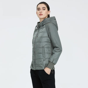 ICEbear 2020 New Women's Spring Coat Brand Clothing Short parka with Hat Fashion Woman Clothing GWC20070D
