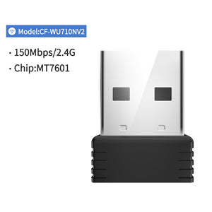 Mini USB Wifi Adapter 802.11b/g/n Antenna 150Mbps USB Wireless Receiver Dongle MT7601 Network Card Laptop TV BOX Wi-Fi Dongle (CF-WU710N)