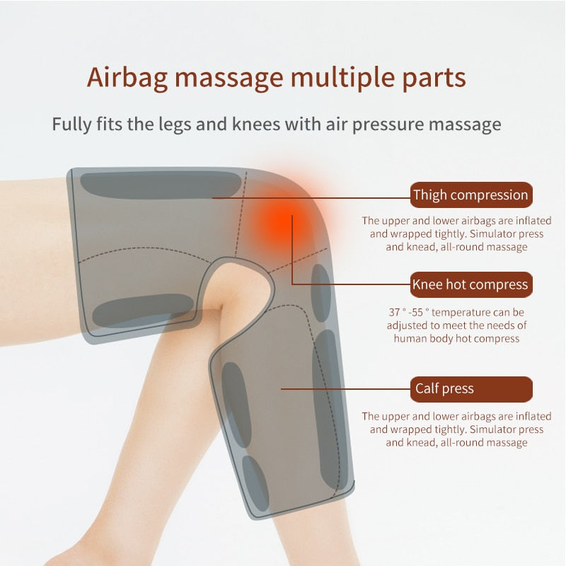 Leg Air Compression Massager Heated for Thigh Knee and Calf Circulation  3 Intensities 2 Modes 2 Temperatures Massage Relaxation