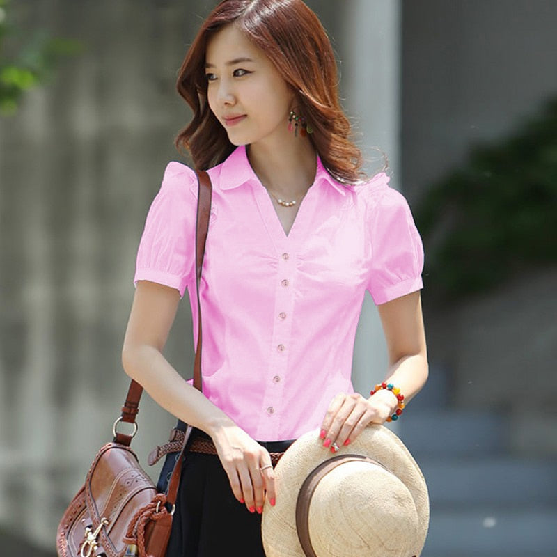 Women Shirts Elegant Women V-Neck White Shirt Plus Size Korean Fashion Cotton Blouses Shirts Office Lady Work Shirt 5xl Women