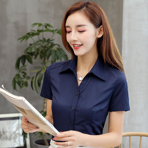 Women Shirts Korean Fashion Women Cotton Shirt Plus Size Women Solid V Neck Blouses Shirts Elegant Women White Work Shirt XXXL