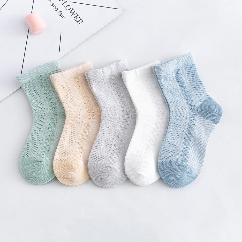 5Pairs/lot 0-2Y Baby Socks Summer Cotton Jacquard Kids Socks Girls Mesh Cute Newborn Boy Toddler Socks Baby Clothes Accessories