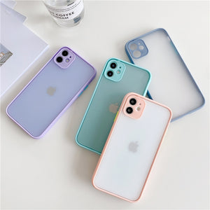 Candy Color Phone Case For iPhone 7 8 Plus Case 11 Pro Max X XR XS Max SE2020 Shockproof Transparent Clear Cover Coque