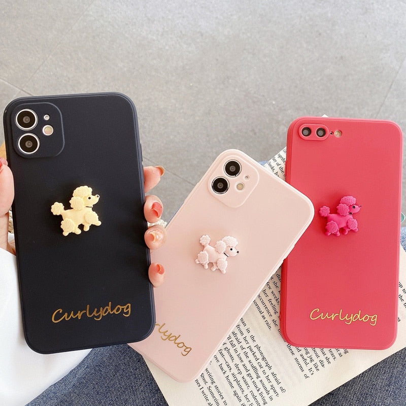 3D Dog Solid Cute Cartoon Phone Case For iPhone 11 Pro Max SE 2020 X XR XS Max 7 8 Plus Soft Silicone Back Cover Coque