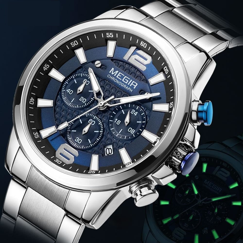 MEGIR 2020 Luxury Watches Men Top Brand Stainless Steel Waterproof Luminous Wristwatch Blue Sports Chronograph Quartz Watch Man