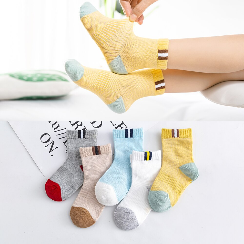 5Pairs/lot 0-2Y Baby Socks Summer Cotton Color Patchwork Kids Socks Colorful Girls Mesh Cute Newborn Boys Toddler Socks Baby