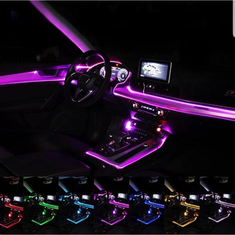 12V Car Atmosphere Light Strip Auto Sound APP Control RGB Colorful Decor Lamps Auto Decorative Ambient Lamp Strips Accessories