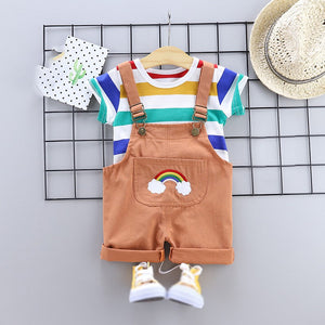 cozyrex,2pcs/set Summer Baby Boys Clothes Set Cartoon Toddler Baby Infant Girls Outfits T-shirt+Bib Pants Kids Clothing Sets Tracksuit,CozyRex,