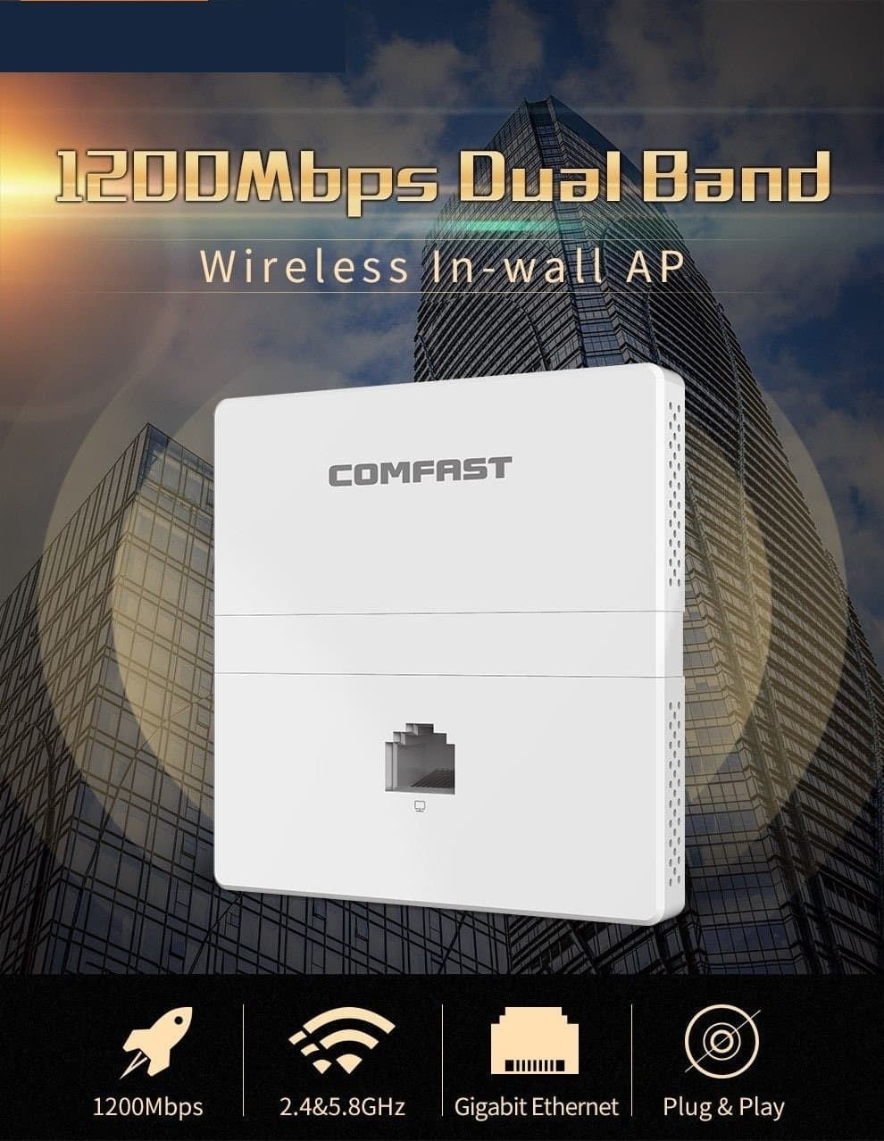 1200Mbps Wireless Dual Band In wall AP 2.4 +5.8 Ghz Gigabit Ethernet Access Point 802.11 AC Hotel Home RJ45 Lan Router Repeater