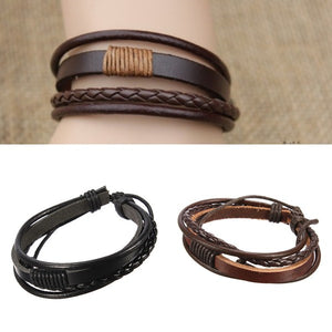 cozyrex,Men Multilayer Tribal Woven Surf Leather Bracelet Wristband,CozyRex,