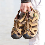 US Size 6.5-10 Men Casual Leather Sandals Comfortable Round Toe Beach Outdoor Sandals Shoes
