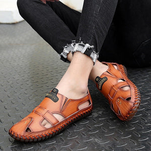 Genuine Leather Breathable Hollow Soft Soles Sandals