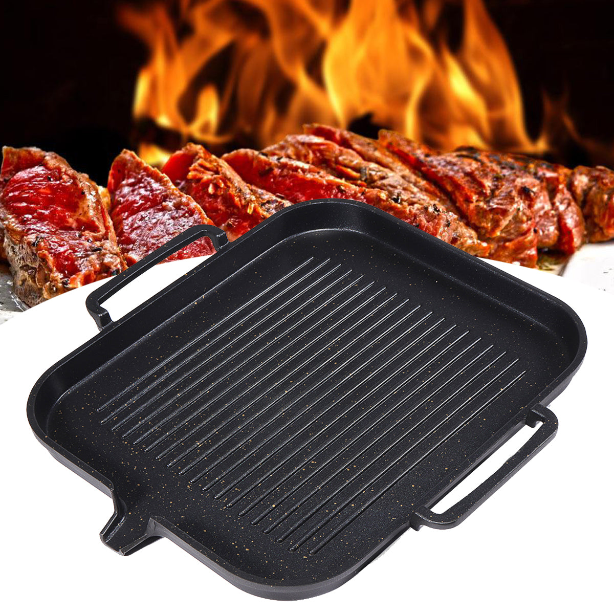 cozyrex,2-4 People BBQ Barbecue Aluminum Frying Grill Pan Plate - Non Stick Coating Cookware Induction Cooking,CozyRex,