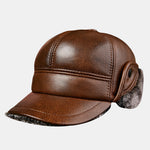 cozyrex,Men's Thick Warm Outdoor Earmuffs Cotton Hat Leather Hat,CozyRex,