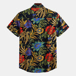cozyrex,Mens Patchwork Pattern Ethnic Hawaiian Floral Printed Shirts,CozyRex,