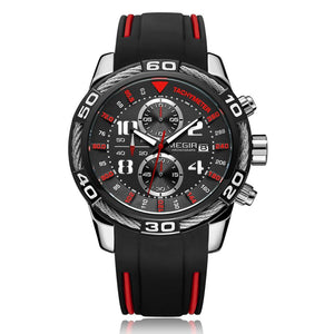 cozyrex,MEGIR 2045 Sport Watches Military Chronograph Silicone Strap Men Quartz Watch,CozyRex,