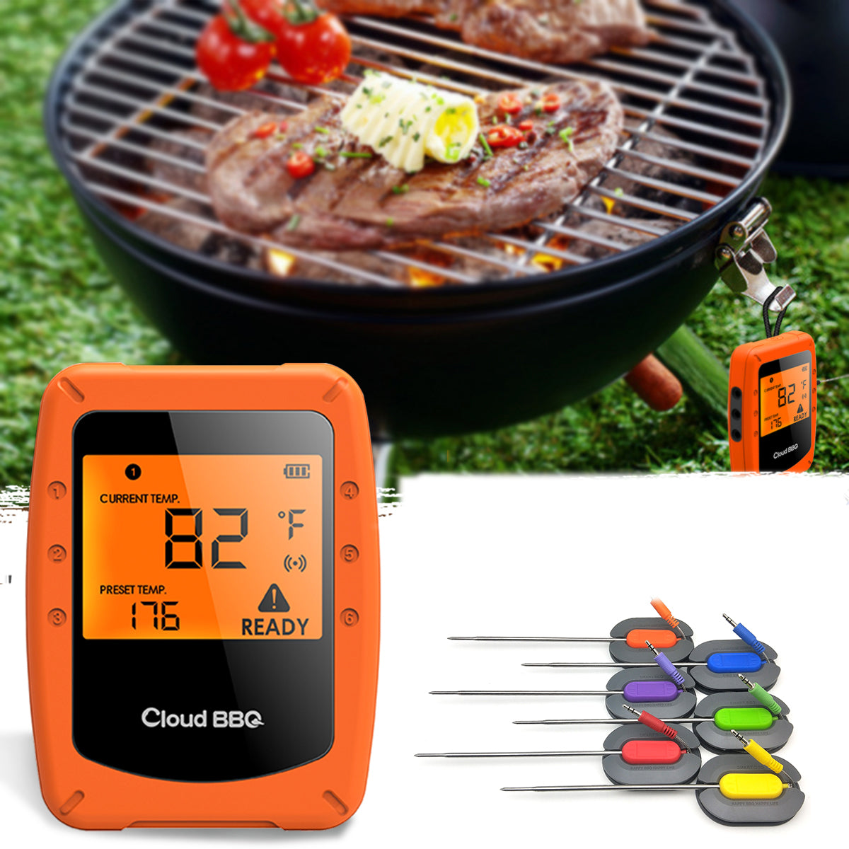 cozyrex,6 Probes Wireless Smart BBQ Thermometer Oven Meat Food bluetooth Wifi For IOS Android,CozyRex,