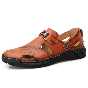 cozyrex,Cowhide Casual Soft Walking Sole Beach Leather Sandals,CozyRex,