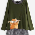 cozyrex,Cartoon Cat Stripe Blouse For Women,CozyRex,
