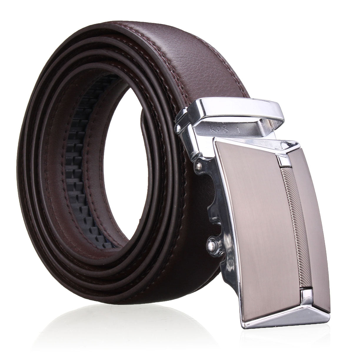 cozyrex,Men Second Floor Cowhide Leather Belt Automatic Buckle Black Brown Waist Strap Waistband,CozyRex,